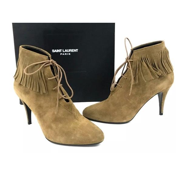 2d0303e1 Saint Laurent YSL Suede Fringe Lace Up Boots NWT